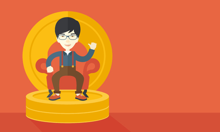 pastel like: A successful japanese businessman smiling while sitting like a king on a heap of money. Achievement concept. A Contemporary style with pastel palette, orange tinted background. Vector flat design illustration. Horizontal layout with text space in right si