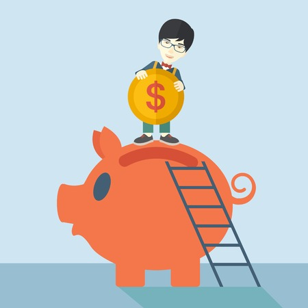 A young asian guy saving his money by putting a coin in big piggy bank using a ladder. Saving concept. A Contemporary style with pastel palette, soft blue tinted background. Vector flat design illustration. Square layout