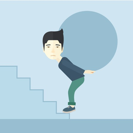uphill: A chinese buisnessman sacrifice in carrying a big ball going up to reach the goal. A Contemporary style with pastel palette, soft blue tinted background. Vector flat design illustration. Square layout.