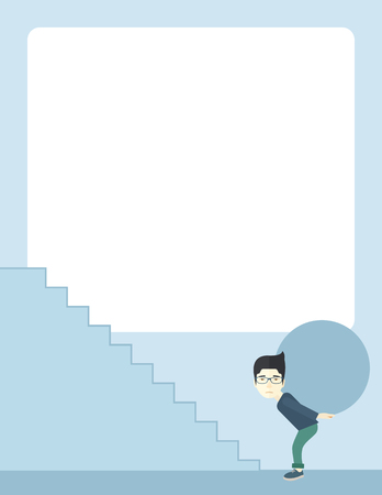 buisnessman: A chinese buisnessman sacrifice in carrying a big ball going up to reach the goal. A Contemporary style with pastel palette, soft blue tinted background. Vector flat design illustration. Vertical layout. Illustration