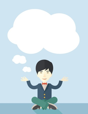 asian business: An asian man with speech cloud thinking about on how the business will grow. Business concept. A Contemporary style with pastel palette, soft blue tinted background. Vector flat design illustration. Vertical layout.