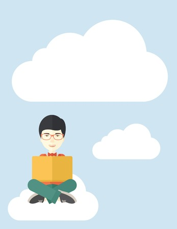 sit down: A chinese guy sitting on a cloud having a great idea while reading a book. Business concept. A Contemporary style with pastel palette, soft blue tinted background with desaturated cloud. Vector flat design illustration. Vertical layout