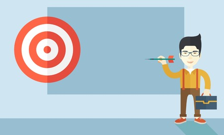 targets: A working chinese man with strategy on how to get his target market sales higher. Market strategy concept. A Contemporary style with pastel palette, soft blue tinted background. Vector flat design illustration. Horizontal layout.