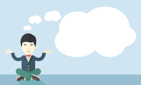 asian business: An asian man with speech cloud thinking about on how the business will grow. Business concept. A Contemporary style with pastel palette, soft blue tinted background. Vector flat design illustration. Horizontal layout.