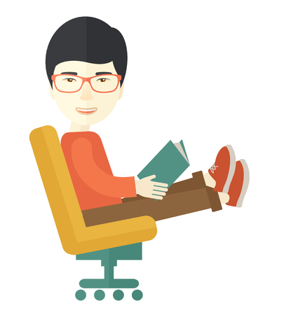 asian business: An asian man sit down with a book in his hand reading for business market strategy. A Contemporary style. Vector flat design illustration isolated white background. Square layout.