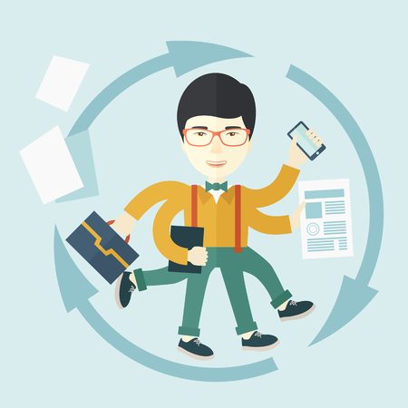 A multitasking job is a man with many hands with successful planning elements, can handle many paper works. Time management concept. A Contemporary style with pastel palette, soft blue tinted background. Vector flat design illustration. Square layout.