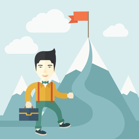 red flag up: A japanese businessman holding his bag will climb up to top of the mountain to achieve success by holding the red flag. Willingness, leadership concept. A Contemporary style with pastel palette, soft blue tinted background with desaturated clouds. Vector  Illustration