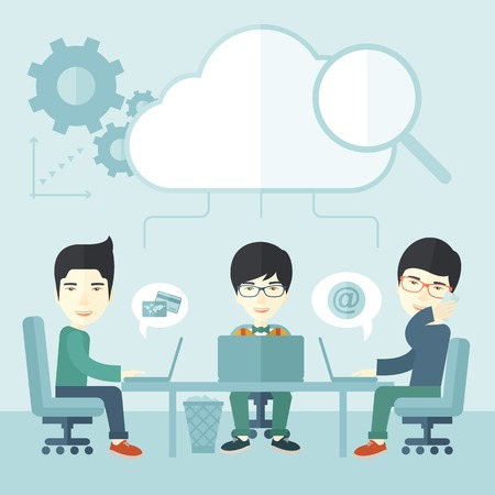 Three outstanding chinese employees discussing and sharing brilliant ideas, gathering information, preparing for their marketing plan presentation using their laptops. Teamwork concept. A Contemporary style with pastel palette, soft blue tinted background
