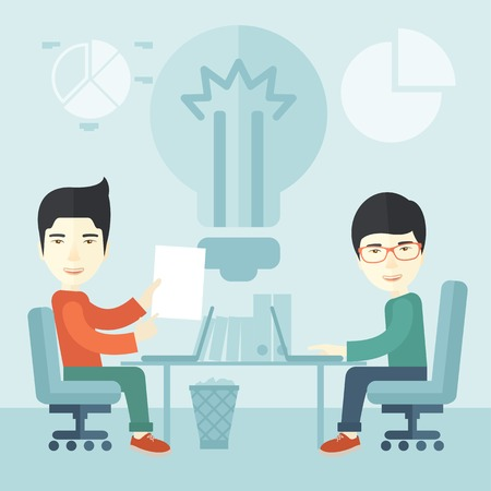 brilliant ideas: A Two japanese businessmen sitting working together getting a brilliant ideas from internet using their laptop. A Contemporary style with pastel palette, soft blue tinted background. Vector flat design illustration. Square layout.