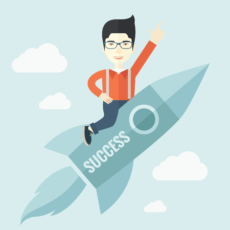 desaturated: A man flying on the rocket raising his hand in the air as his start up. Success concept. A Contemporary style with pastel palette, soft blue tinted background with desaturated clouds. Vector flat design illustration. Square layout.