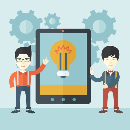 using tablet: A two asian businessmen standing while holding a big screen tablet with bulb icon a computer tablet perspective view strategy marketing. Business concept. A Contemporary style with pastel palette, soft blue tinted background. Vector flat design illustrati Illustration