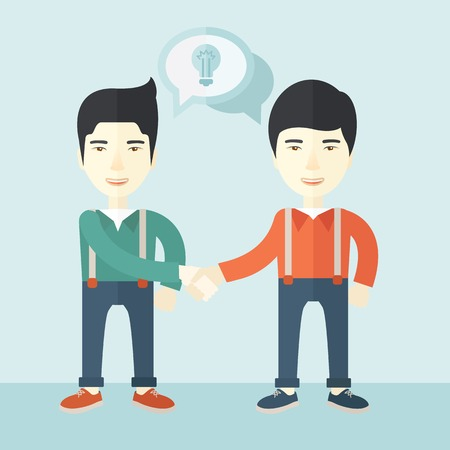 asian business: A two asian guys standing facing each other handshakiung for the successful business deal. Business partnership concept. A Contemporary style with pastel palette, soft blue tinted background. Vector flat design illustration. Square layout.