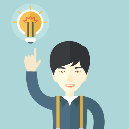 smart boy: A happy asian guy raising his hand pointing the bulb having a good idea for business. Business concept. A Contemporary style with pastel palette, soft blue tinted background. Vector flat design illustration. Square layout.