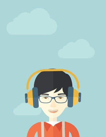 desaturated: A Happy chinese young guy listening to music with headphones. Happy concept. A Contemporary style with pastel palette, soft blue tinted background with desaturated clouds. Vector flat design illustration. Vertical layout.