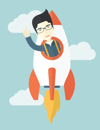 beginnings: A Young asian guy inside the rocket on launch of space. Startup concept. A Contemporary style with pastel palette, soft blue tinted background with desaturated clouds. Vector flat design illustration. Vertical layout.