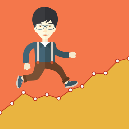 tinted: A chinese Businessman runs up the hill. A Contemporary style with pastel palette, orange tinted background. Vector flat design illustration. Square layout.