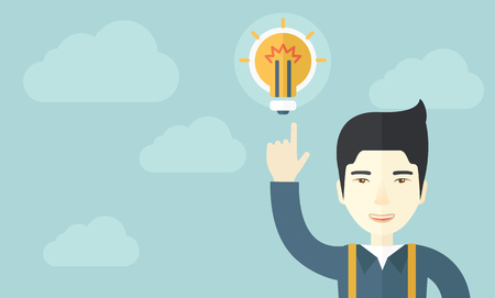 desaturated: A happy chinese guy raising his hand pointing the bulb having a good idea for business. Business concept. A Contemporary style with pastel palette, soft blue tinted background with desaturated clouds. Vector flat design illustration. Horizontal layout. Illustration