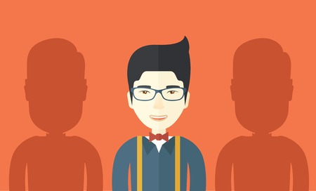 asian businessman: A happy asian businessman with his two shadows. A Contemporary style with pastel palette, orange tinted background. Vector flat design illustration. Horizontal layout. Illustration