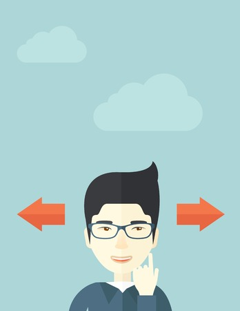 way of thinking: Japanese man thinking which way to go left or right arrows. Choosing concept.  A Contemporary style with pastel palette, soft blue tinted background with desaturated clouds.. Vector flat design illustration. Vertical layout.