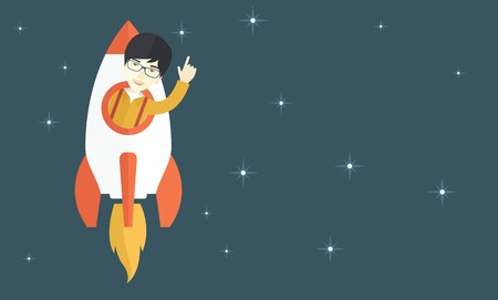 beginnings: A Young aisan guy inside the rocket on launch of space. Startup concept. A Contemporary style with pastel palette, blue tinted background with stars. Vector flat design illustration. Horizontal layout.