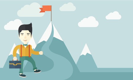 A japanese businessman holding his bag will climb up to top of the mountain to achieve success by holding the red flag. Willingness, leadership concept. A Contemporary style with pastel palette, soft blue tinted background with desaturated clouds. Vector  Illustration