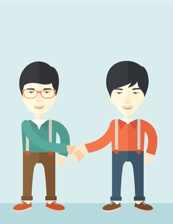 asian business: A two asian guys standing facing each other handshakiung for the successful business deal. Business partnership concept. A Contemporary style with pastel palette, soft blue tinted background. Vector flat design illustration. Vertical layout with text spac