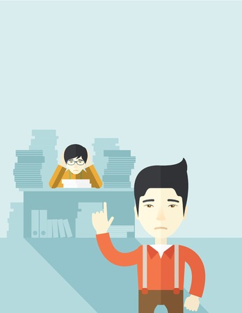 disappointment: An asian office clerk has a lot of works to do with those papers infront of him, problem on how to meet the deadline of his report. Disappointment concept. A Contemporary style with pastel palette, soft blue tinted background. Vector flat design illustrat