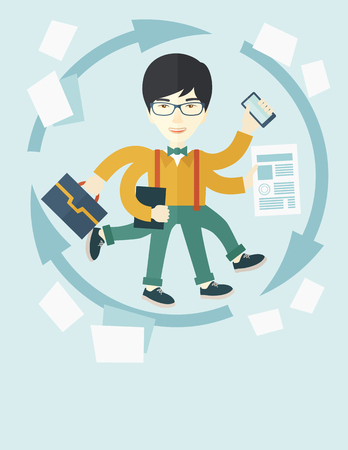 asian man laptop: A multitasking job is a man with many hands with successful planning elements, can handle many paper works. Time management concept. A Contemporary style with pastel palette, soft blue tinted background. Vector flat design illustration. Vertical layout wi