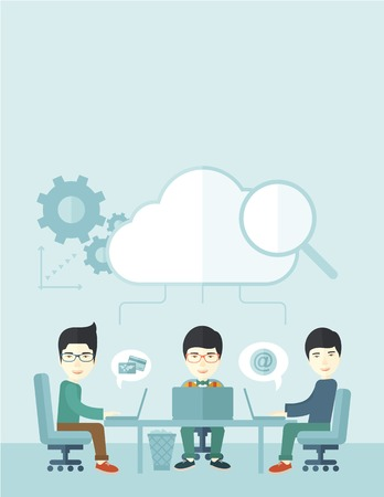 asian business meeting: Three outstanding chinese employees discussing and sharing brilliant ideas, gathering information, preparing for their marketing plan presentation using their laptops. Teamwork concept. A Contemporary style with pastel palette, soft blue tinted background