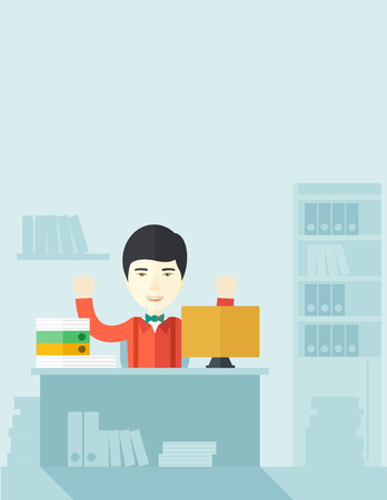 A very happy chinese businessman sitting while raising his both hand finished his work with laptop and paper works on time inside his office. Achievement concept. A Contemporary style with pastel palette, soft blue tinted background. Vector flat design il Illusztráció