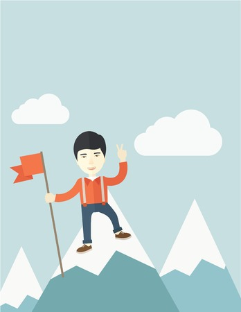 A happy chinese businessman standing on the top of a mountain with snow holding a red flag. Cheerful, winner and leader concept. A Contemporary style with pastel palette, soft blue tinted background with desaturated clouds. Vector flat design illustration
