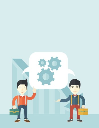 Two men carrying bags thinking a new business in logistics. Brainstorming, speech bubble gears. Teamwork concept. A Contemporary style with pastel palette, soft blue tinted background. Vector flat design illustration. Vertical layout with text space on to
