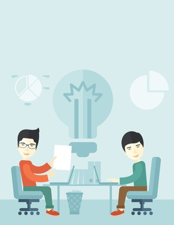 A Two japanese businessmen sitting working together getting a brilliant ideas from internet using their laptop. A Contemporary style with pastel palette, soft blue tinted background. Vector flat design illustration. Vertical layout with text space on top