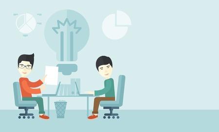business meeting asian: A Deux hommes d'affaires japonais assis travailler ensemble obtenir un id�es brillantes � partir d'Internet en utilisant leur ordinateur portable. Un style contemporain avec palette pastel, doux fond teint� bleu. Vector design plat illustration. Disposition horizontale avec un espace de texte dans ri