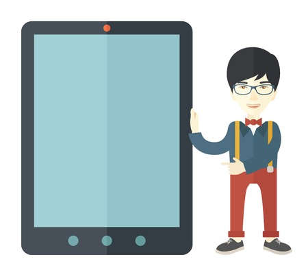 using tablet: A chinese businessmen standing while holding a big screen a computer tablet perspective view strategy marketing. Business concept. A Contemporary style. Vector flat design illustration with isolated white background. Square layout