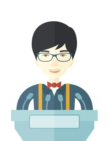 ve: A chinese speaker stands behind a podium with microphones makes a business report  and marketing strategy inside the conference room. Presentation, reporting concept. A contemporary style. Vector flat design illustration with isolated white background. Ve