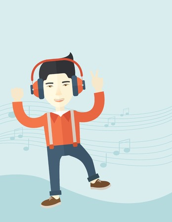 listener: A happy young man dancing, singing while listening to music with headphones showing the notes at his back. Happy concept. A Contemporary style with pastel palette, soft blue tinted background. Vector flat design illustration. Vertical layout with text spa
