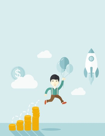 vertica: An asian Businessman holding balloons fly high with coin graph that shows increase in sales. Start up business concept. A Contemporary style with pastel palette, soft blue tinted background with desaturated clouds. Vector flat design illustration. Vertica Illustration