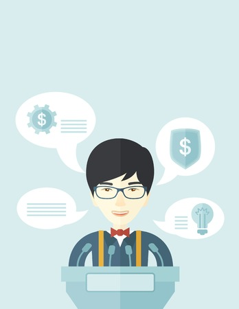 the reporting: A chinese speaker stands behind a podium with microphones makes a business report  and marketing strategy inside the conference room. Presentation, reporting concept. A Contemporary style with pastel palette, soft blue tinted background. Vector flat desig Illustration