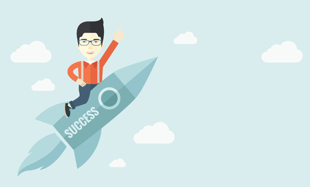rocket: A man flying on the rocket raising his hand in the air as his start up. Success concept. A Contemporary style with pastel palette, soft blue tinted background with desaturated clouds. Vector flat design illustration. Horizontal layout with text space in l Illustration