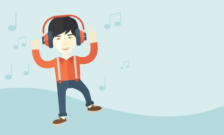 listener: A happy young man dancing, singing while listening to music with headphones showing the notes at his back. Happy concept. A Contemporary style with pastel palette, soft blue tinted background. Vector flat design illustration. Horizontal layout with text s