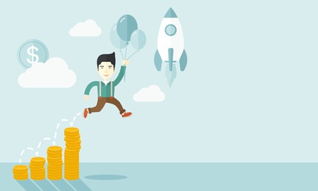 asian business: An asian Businessman holding balloons fly high with coin graph that shows increase in sales. Start up business concept. A Contemporary style with pastel palette, soft blue tinted background with desaturated clouds. Vector flat design illustration. Horizon Illustration