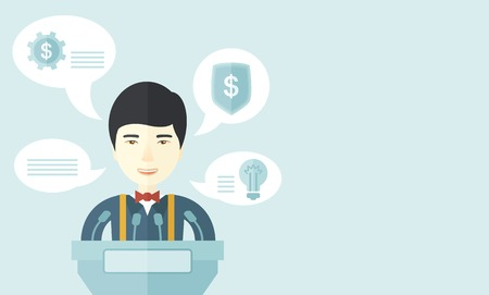 conference speaker: A chinese speaker stands behind a podium with microphones makes a business report  and marketing strategy inside the conference room. Presentation, reporting concept. A Contemporary style with pastel palette, soft blue tinted background. Vector flat desig Illustration