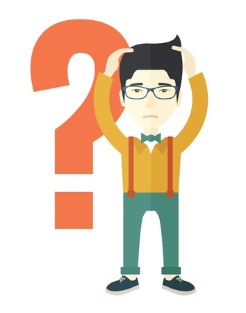 back problem: A chinese businessman with a problem standing scratching his head with question mark at his back. Unhappy concept. A contemporary style. Vector flat design illustration with isolated white background. Vertical layout Illustration