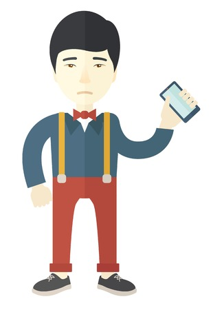smartphone hand: A japanese Man with smartphone in hand. A contemporary style. Vector flat design illustration with isolated white background. Vertical layout.
