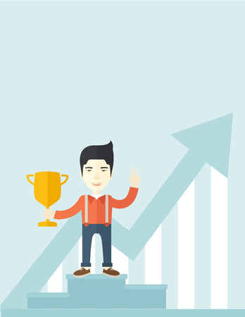 win: A chinese businessman proudly standing on the winning podium holding up winning trophy and showing an arrow pointing upward as his success. Winner concept. A Contemporary style with pastel palette, soft blue tinted background. Vector flat design illustrat