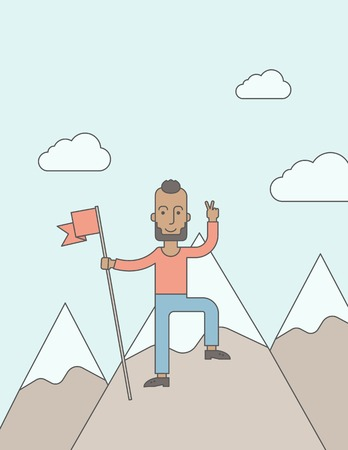 A happy caucasian businessman with pretty good tan skin standing on the top of a mountain with snow holding a red flag. Cheerful, winner and leader concept. A Contemporary style with pastel palette, soft blue tinted background with desaturated clouds. Vec