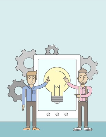 big screen: A two caucasian businessmen holding a big screen tablet with bulb icon a computer tablet perspective view strategy marketing. Business concept. A Contemporary style with pastel palette, soft blue tinted background. Vector flat design illustration. Vertica