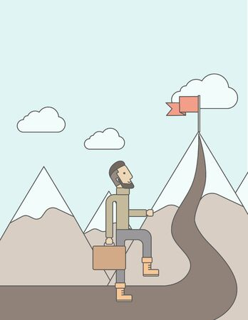 coordination: A Caucasian businessman holding his bag will climb up to top of the mountain to achieve success by holding the red flag. Willingness, leadership concept. A Contemporary style with pastel palette, soft blue tinted background with desaturated clouds. Vector Illustration