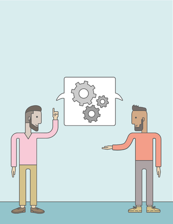 two men talking: Two men talking a new business in logistics. Brainstorming, speech bubble gears. Teamwork concept. A Contemporary style with pastel palette, soft blue tinted background. Vector flat design illustration. Vertical layout with text space on top part.